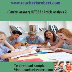 (Correct Answer) HLT362 : Article Analysis 2